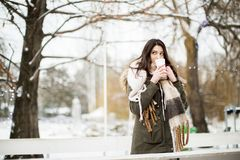 Pretty young woman drinking hot tea on a winter day Stock Image