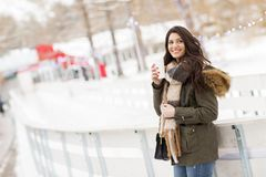 Pretty young woman drinking hot tea on a winter day. Pretty young woman drinking hot tea on a cold winter day Royalty Free Stock Image