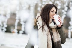 Pretty young woman drinking hot tea on a winter day. Pretty young woman drinking hot tea on a cold winter day Royalty Free Stock Photo