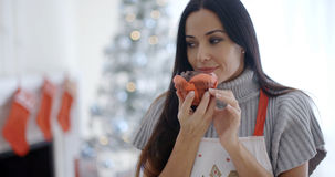 Pretty young woman enjoying her Christmas baking Royalty Free Stock Image