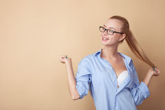 Pretty young woman is expressing her sexuality royalty free stock images