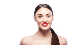 Pretty young woman is expressing positive emotions royalty free stock photo