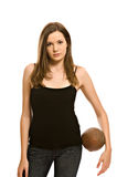 Pretty young woman with football royalty free stock photo