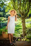Pretty, young woman gardening in her garden. Harvesting organic apples - looking very happy with the results Royalty Free Stock Photos