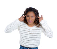 Pretty young woman gesturing are u crazy Royalty Free Stock Image