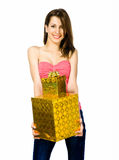 Pretty young woman with gifts Royalty Free Stock Photography