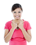 Pretty Young Woman Giving Thumbs Up Stock Image