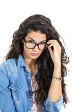 Pretty young woman with glasses Stock Images