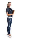 Pretty young woman in a glasses royalty free stock images