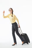 Pretty young woman going with a suitcase Stock Photos