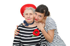 Pretty young woman and grandmother together Royalty Free Stock Photos
