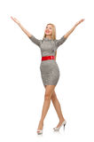 The pretty young woman in gray dress isolated on white Royalty Free Stock Photo