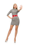 The pretty young woman in gray dress isolated on white Royalty Free Stock Image