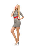 The pretty young woman in gray dress isolated on white Stock Images