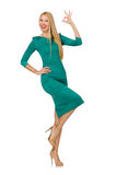 Pretty young woman in green dress isolated on Stock Photography