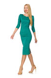 Pretty young woman in green dress isolated on Royalty Free Stock Photography