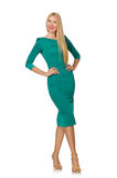 Pretty young woman in green dress isolated on Stock Photos