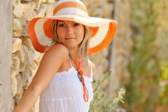 Pretty young woman with hat Royalty Free Stock Images