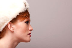 Pretty young woman with hat Stock Images