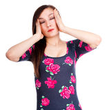 Pretty young woman with headache Royalty Free Stock Photography