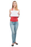 Pretty young woman holding a blank signboard Stock Images