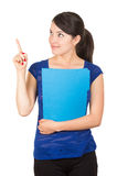 Pretty young woman holding a blue folder Stock Photography