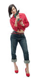 Pretty young woman holding cordless drill Royalty Free Stock Photography
