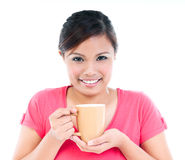 Pretty Young Woman Holding Cup Stock Photography
