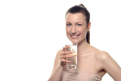Pretty Young Woman Holding a Glass of Water Stock Photos