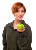 Pretty Young Woman Holding Green Apple Royalty Free Stock Image