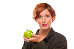 Pretty Young Woman Holding Green Apple Stock Photo