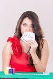 Pretty Young Woman Holding Playing Cards Royalty Free Stock Images