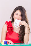 Pretty Young Woman Holding Playing Cards Stock Photography