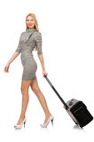 The pretty young woman holding suitcase isolated on white Royalty Free Stock Image