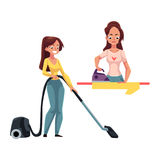 Pretty young woman, housewife washing and vacuum cleaning her house Stock Photos