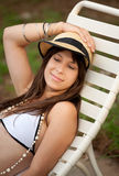 Pretty Young Woman In Bathing Suit And Hat Royalty Free Stock Photos