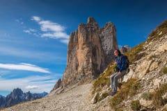 Pretty young woman in italien dolomites, south tyrol, italien alps, tre cime di lavaredo stock photo