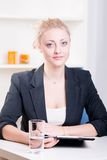 Pretty young woman at a job interview Royalty Free Stock Image