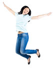 Pretty young woman jumping in air Royalty Free Stock Image