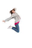 Pretty young woman jumping Stock Images