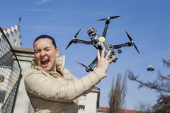 Pretty young woman just a moment before drone attack Royalty Free Stock Photo
