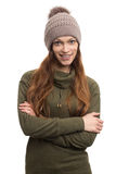 Pretty young woman in knitted cap Royalty Free Stock Image