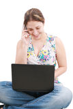 A pretty young woman with laptop Royalty Free Stock Photos