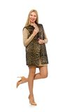 Pretty young woman in leopard vest isolated on the Royalty Free Stock Image