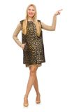 Pretty young woman in leopard vest isolated on the Stock Photo