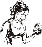 Pretty young woman lifting dumbbells - vector Stock Photos