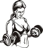 Pretty young woman lifting dumbbells - vector Stock Images