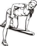 Pretty young woman lifting dumbbells - vector Royalty Free Stock Photos