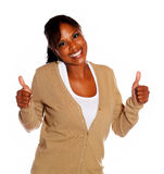 Pretty young woman lifting the fingers up Royalty Free Stock Photo