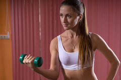 Pretty Young Woman Lifting Weight Seriously Royalty Free Stock Photo